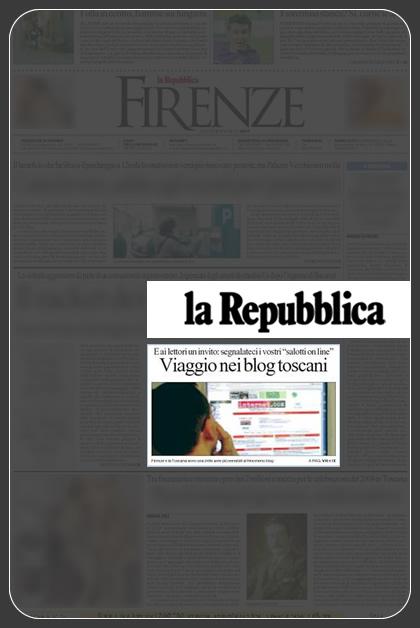la prima pagina dell'edizione di Repubblica di oggi, cronaca di Firenze