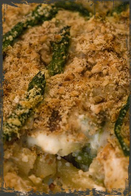Pasta al forno con asparagi, scamorza e noci